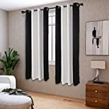 LORDTEX Color Block Blackout Curtains for Bedroom - Insulated Thermal Drapes, Sun Light Blocking & Noise Reducing Grommet Window Panels for Living Room, 2 Panels, 50 x 63 Inch, Black/Greyish White
