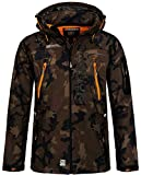 Geographical Norway Techno Softshelljacke Herren, Abnehmbare Kapuze Gr. X-Large, Khaki / Orange