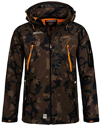 Geographical Norway Techno Softshelljacke Herren, Abnehmbare Kapuze Gr. Large, Khaki / Orange