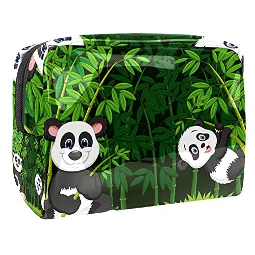 Bolso del Maquillaje de Las Mujeres, Prenda Impermeable del Neceser del Viaje del almacenamientoMamá de Dibujos Animados y Panda bebé para Viajes, Organizadora de cosméticos