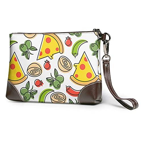 XCNGG Pochette Sac À Main En Cuir Pizza Ingrédients Enveloppe Sac Portefeuille et Étui De Transport Trousse De Maquillage Femmes Filles