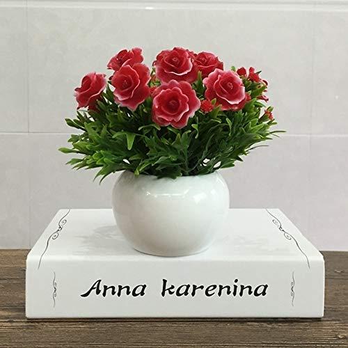 Kunstbloemen, kunstbloemen, richting, 1 kunstmatige planten, modern, tafelvaas met eeuwige bloemen, voor Kerstmis, ontvangst, huwelijk, Nieuwjaar, Valentijnsdag, Moederdag Rood