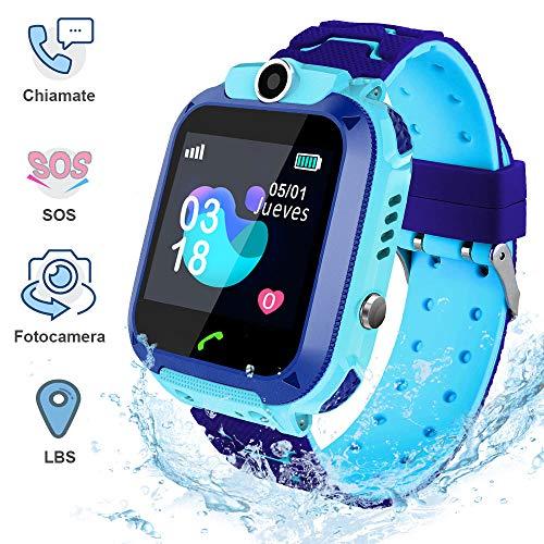 Smartwatch Bambini AIMIUVEI, IP67 con Touch-screen, Orologio Intelligente per Bambini SOS, LBS, Telefonata Bidirezionale, Videocamera Remota e Giochi Matematici, Regalo adatto a Ragazzi e Ragazze(Blu)