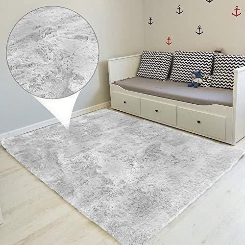 Hochflor Teppich wohnzimmerteppich Langflor - Teppiche für Wohnzimmer flauschig Shaggy Schlafzimmer Bettvorleger Outdoor Carpet (160 x 230 cm, Hellgrau/Weiß)