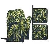 Juego de 4 manoplas para horno y soportes para ollas,patrón de hojas de marihuana,planta de cannabis,vegetación densa verde de ganja,guantes de poliéster para barbacoa con forro acolchado,