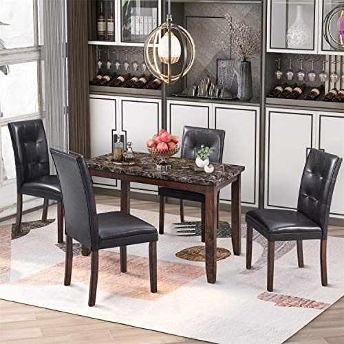 HADBER 5-Piece Dining Set Table with 4 Thicken Cushion Dining Chairs Home Furniture, Brown/Black