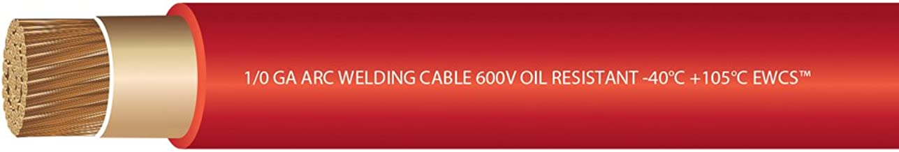 EWCS 1/0 Gauge Premium Extra Flexible Welding Cable 600 Volt - Red - 10 Feet - Made in the USA