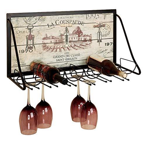 Creative Wall Colgando vino Rack Copa de vino Rack Colgante Cubileta Rack Bar Sala de estar Sala Comedor Retro Sistema simple de exhibición 65x26x40cm ZHPBHD