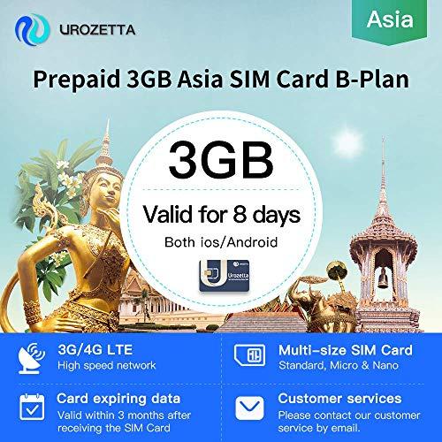 Urozetta 4G SIM-Karte 3 GB Datenabdeckung Asien Gültig für 8 Tage Netzabdeckung in Thailand, Korea, Indien, Vietnam usw. 9 Regionen und Länder