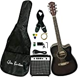Glen Burton GA204BCO-BK Acoustic Electric Cutaway Guitar, Black...