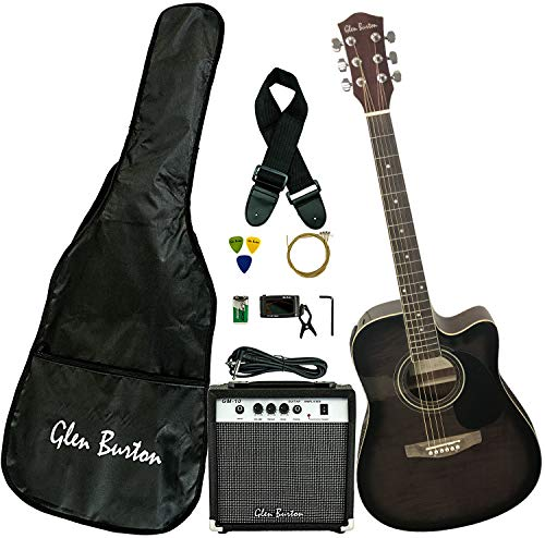 multi purpose thinline acoustic electric guitar Glen Burton GA204BCO-BK Cutaway Acoustic Guitar, Black