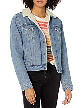 Levi s Women s Original Sherpa Trucker Jackets  Standard and Plus  Divided Blue Large