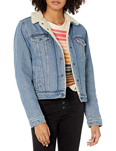Levi's Women's Original Sherpa Trucker Jackets, Divided Blue, Medium
