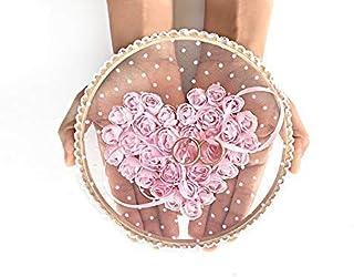 Ring Bearer Pillow, Wedding, Holder, Pink, Lace, Boho, Alternative, Ring