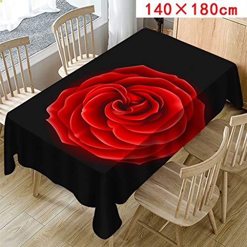 FeiliandaJJ Tischdecke Schwarz Rote Rose Abwaschbar Pflegeleicht Tisch Cover für Valentinstag Hochzeit Party Outdoor Hotel Dekoration (Schwarz, D(140X180cm))