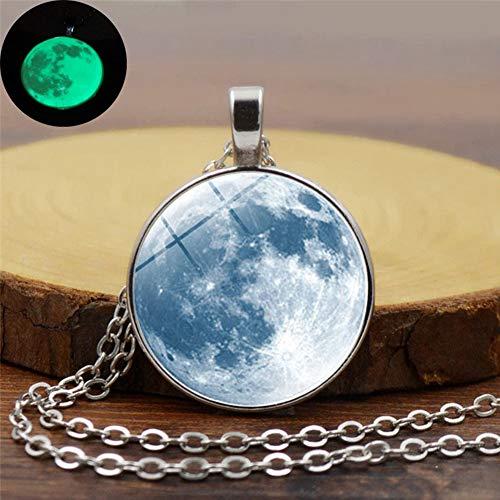 Dark Moon Necklace, Glow in the Dark Galaxy Planet catena luminosa luna ciondolo cabochon yh0220 Come da immagine