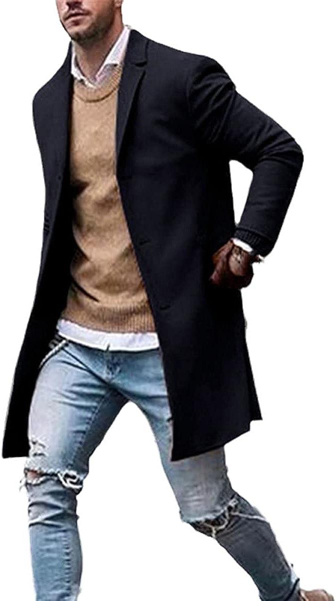 Winter Fashion Men's Slim Long-Sleeved Cardigan Blended Jacket Jacket Suit Solid Coat