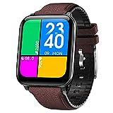 [Novità] 2021 Orologio Smartwatch 1.69' fitness tracker IP68 Uomo Donna Saturimetro Pressione sanguigna Monitoraggo sonno Temperatura corporea per Android e iOS (Dark brown)