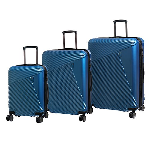 it luggage 3 Piece Set of Metamorphic 8 Wheel Hard Shell Single Expander Suitcases with TSA Lock Suitcase, 78 cm, 302 liters,Glass Blues