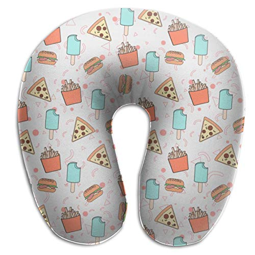 Almohada de viaje en forma de U Lindo helado Pizza Hamburguesa Papas fritas Gris Almohada en forma de U estándar Cómoda almohada de apoyo para la cabeza y el cuello con cojín de espuma viscoelástica