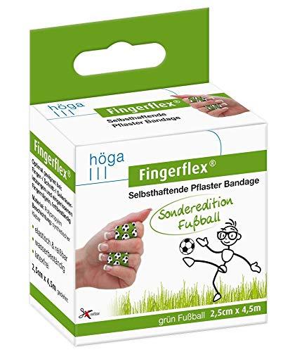 Fingerflex grün Fußball Sonderedition 2.5cm x 4.5m gedehnt selbsthaftende Pflaster Bandage elastisch & reißfest wasserbeständig latexfrei, 23 g