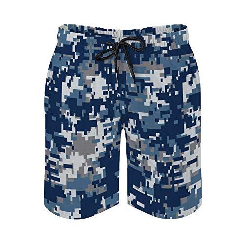 MayBlosom Pantalones cortos de playa para hombre, Digi Camo de secado rápido, trajes de baño casuales hawaianos para fiestas de día festivo con elástico