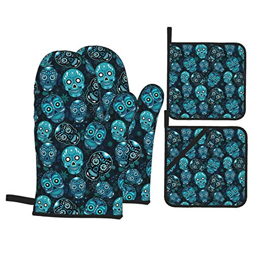 KXT Blue Skull Day Dead Oven Mitts and Pot Holders,4PCS Heat Resistant Kitchen Gloves,Non-Slip 2 Oven Mitts,2 Pot Holders for Cooking,Baking, Grilling,Barbecue