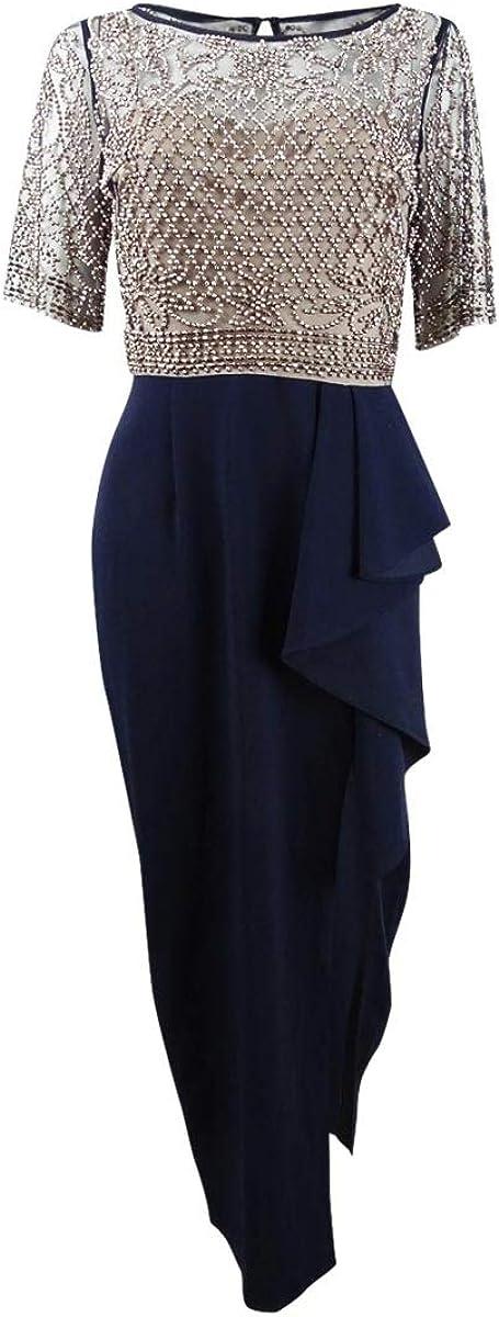 Xscape Women's Petite Beaded-Bodice Ruffle-Skirt Dress
