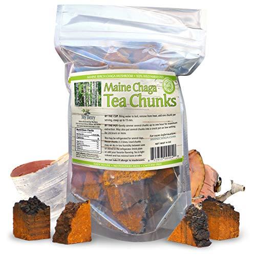 Maine Chaga Mushroom Tea Chunks, 4oz, Wild Harvested, No Pesticides, Not sourced From Russia