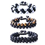 WRCXSTONE Natural Stone Bracelet Mens Black Lava Rock Bracelet Tiger Eye Gemstone Bracelet Yoga Essential Oil Bracelet Charm Gift (3 Pcs a Set)