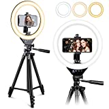 EICAUS 10'' Ring Light with Stand and Phone Holder, Cell Phone Tripod with Ringlight and Phone Holder, Selfie Ring Light for Live Streaming/Makeup/Photography, Compatible with iPhone Android Phones
