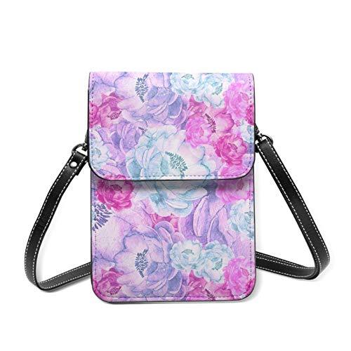 Damen Umhängetasche, leicht, mit Blumenmuster, Blau / Pink / Violett