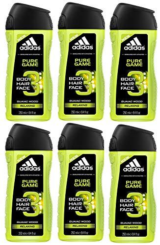 adidas Pure Game 3in1 Duschgel für Herren reinigt Körper und Haar, 6er Pack (6 x 250 ml)