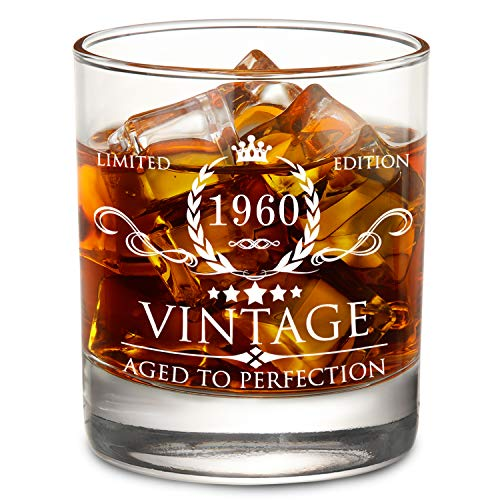 AOZITA 60th Birthday Gifts for Men - 1960 60th Birthday Decorations for Men, Party Supplies - 60th Anniversary Gifts Ideas for Him, Dad, Husband, Friends - 11oz Whiskey Glass