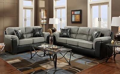 Roundhill Furniture Laredo 2-Toned Sofa and Loveseat Living Room Set, Black/Grey-P