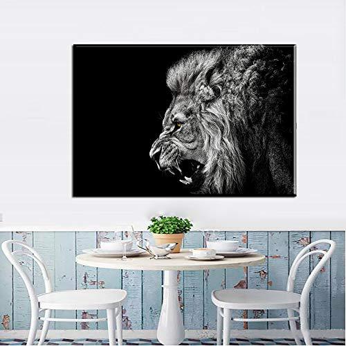 Schwarz-Weiß-Waldkönig Leinwand Kunstdruck Poster Löwe Tier Leinwand Wand Wohnzimmer rahmenlos dekorative Malerei Kunst Poster Z16 70x100cm