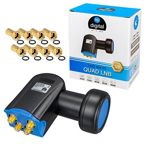 HB-DIGITAL Quad LNB LNC 4 Teilnehmer Direkt Full HD TV 3D 4K Schwarz Black + Kontakte vergoldet + Wetterschutz (ausziehbar) im Set mit 8 F-Stecker vergoldet GRATIS dazu
