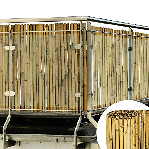 Sol Royal Valla de bambú Protectora SolVision B38 100 x 250 cm (A x L) Estera de privacidad Visual y Viento Natural Balcones terrazas Jardines barandas Cerca con cañas Gruesas