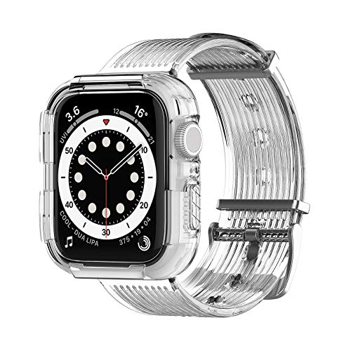 LϟK Compatible with iWatch Band Strap with Rugged Protective Case for Apple Watch 44mm SE/Series 4/5/6 and Apple Watch 42mm Series 3/2/1- Adjustable, Dropproof, Shockproof - Clear