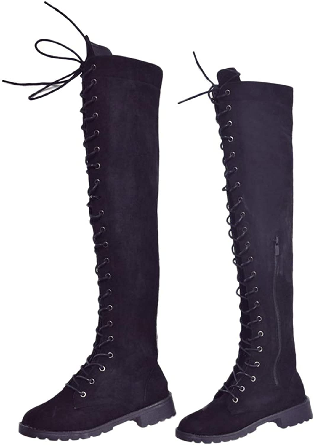 Zoylink Thigh High Boots Fashion Strappy Zipper Over The Knee Boots for Women
