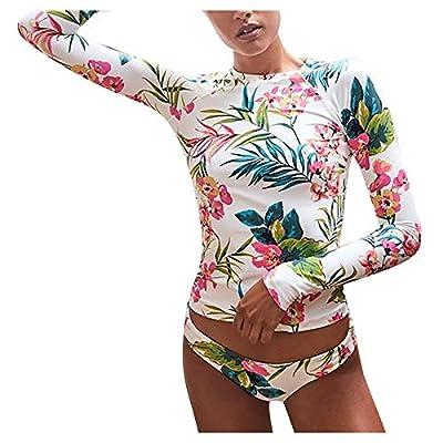 Padaleks Womens Two Pieces Swimsuit Swimwear Long Sleeve Leaf Top Bikini Set Sexy Swim Bottom Beach Bathing Suits