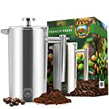 Java Planet - French Press Coffee Maker Stainless Steel - Insulated and Durable - 34oz Capacity - For Hot or Cold Brew