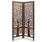 Sylvan Artistry Wooden Handcrafted 2 Panel Partition for Living Room | Wooden Divider for Living Room | Wooden Partition for Office & Room | Wooden Room Separator for Home (Color-Brown)
