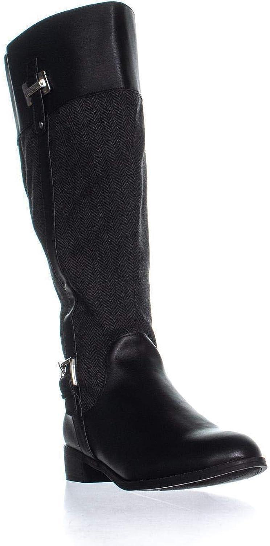 Karen Scott KS35 Deliee Wide-Calf Riding Boots, Black Herringbone