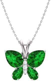 ALARRI 1.5 CTW 14K Solid Rose Gold Peart Green Amethyst Necklace with 24 Inch Chain Length