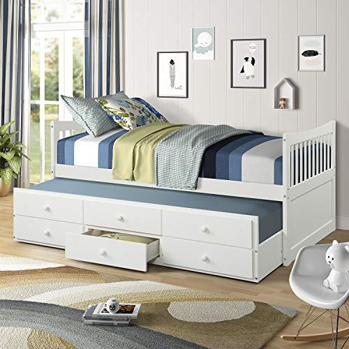 Day Bed with a Trundle and 3 Storage Drawers Solid Wood Trundle Bed with Built-in smoothly casters...