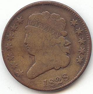1828 Classic Head 12 Stars Half Cent Very Good Details