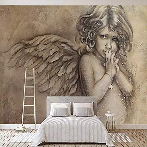 3D Wandbilder Tapete Gemälde Europäischer Stil 3D Geprägte Engel Wandbild Wohnzimmer TV Hintergrund Wanddekor Tapet Wanddekoration fototapete 3d Tapete effekt Vlies wandbild Schlafzimmer-300cm×210cm