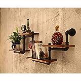 Shelf Estantes montados en la Pared de Estilo Industrial en línea Recta Hierro Forjado Retro decoración de la Esquina del hogar de la Sala Cafetería 1 Pieza