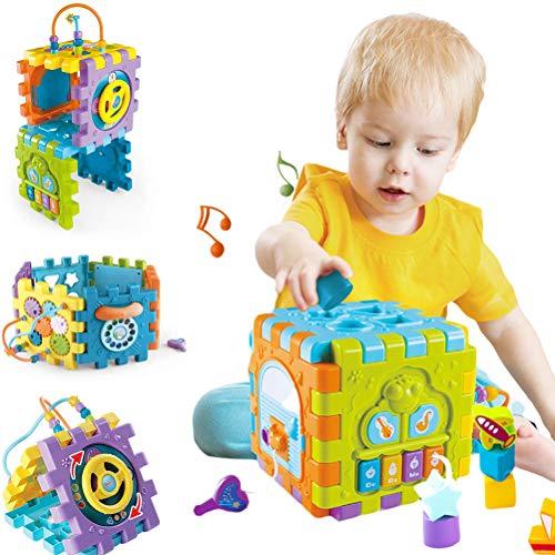 Atrumly Cubo multifuncional 6 en 1 para actividades de bebé, centro de juegos con música de regalo para bebés y niñas